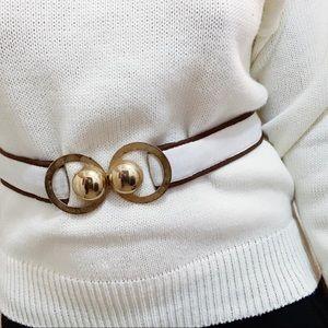 Vtg 60s/70s Stretchy Gold Circle Buckle Belt